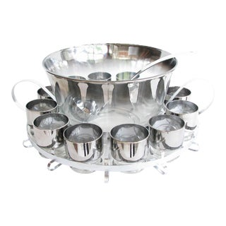 Queen's Lusterware Dorothy Thorpe Style Silver Fade Punch Bowl Set With Rack - Set of 15 For Sale