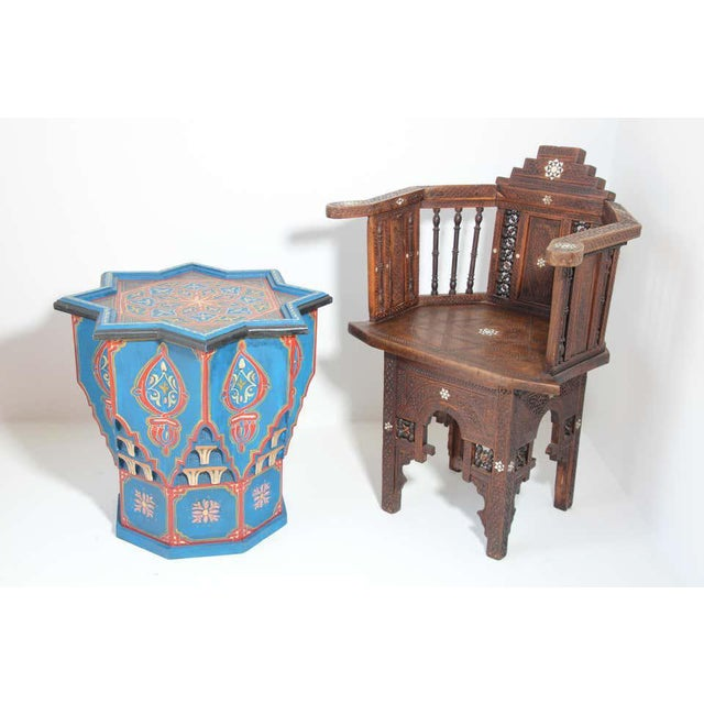 Blue Moorish Star Shape Blue Side tables - A Pair For Sale - Image 8 of 13