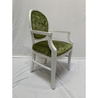 1990s Vintage Green Semi-Crushed Chenille Arm Side Chair Preview