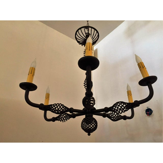 Art Deco French Moderne 1940s Iron Chandelier For Sale - Image 3 of 11