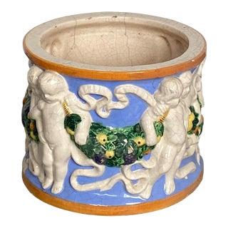 Vintage Della Robbia Round Cache Pot, Italy For Sale