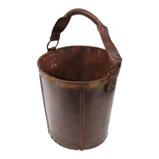 1940s Leather Waste Basket from Spain For Sale