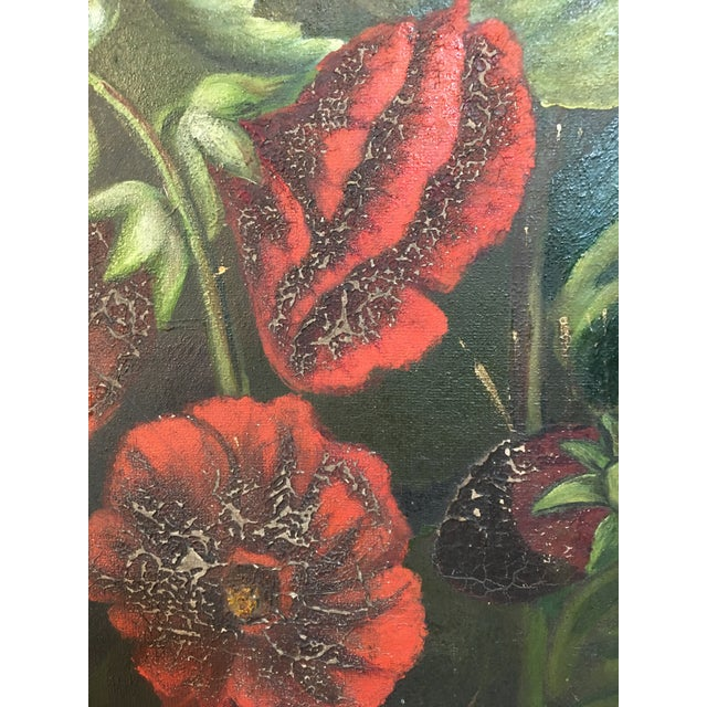 Antique Floral Oil Painting For Sale In Atlanta - Image 6 of 11