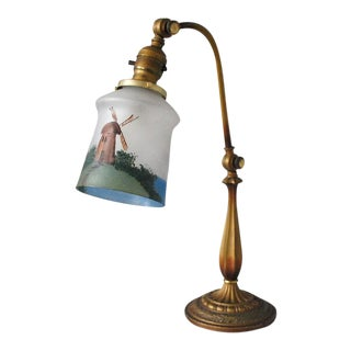Antique Cast Iron Table Lamp with Hand Painted Windmill Shade