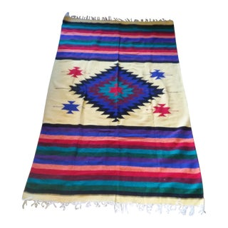 Vintage Oaxaca Indian Wool Rug / Blanket - 4′ × 6′4″