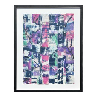 1998 Contemporary Gestural Pink & Purple Woven Mixed-Media Painting by Ibsen Espada, Framed For Sale