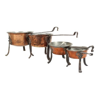 Antique Swedish Copper Cooking Pots - Set of 4