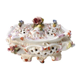 19th Century Majolica Rose Reticulated Lidded Bowl