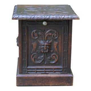 19th Century Antique English Coal Hod Scuttle Fireplace Hearth Carved Oak End Table For Sale