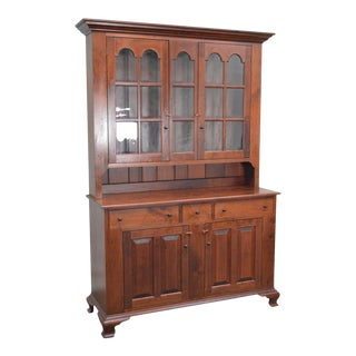 Eldred Wheeler Solid Cherry Chippendale Style Stepback Cupboard