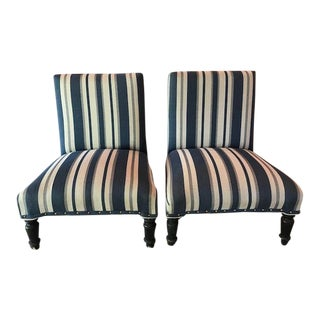 Antique Napoleon III Striped Slipper Chairs - a Pair