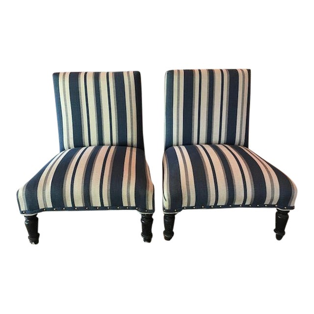 Antique Napoleon III Striped Slipper Chairs - a Pair For Sale - Antique Napoleon III Striped Slipper Chairs - A Pair Chairish