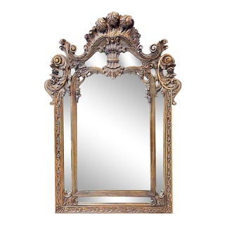 French Style Rococo Carved Mirror For Sale