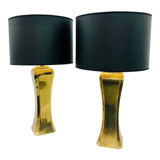 Pair Vintage Modern Brass Table Lamps For Sale