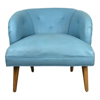 1940s Danish Modern Tufted Blue Wide Barrel Back Lounge Chair