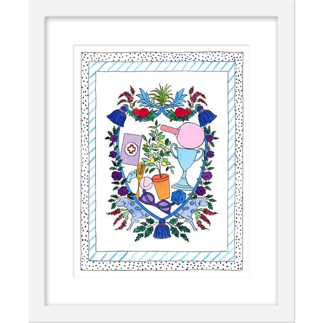 """Contemporary Medium """"'Fun Prevails' Heraldry"""" Print by Rachel Rogers, 17"""" X 21"""" For Sale - Image 3 of 3"""