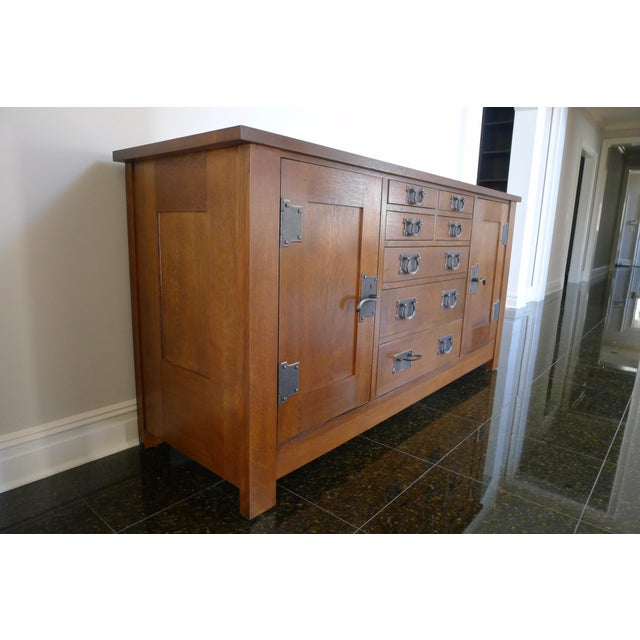 Derived from the sideboard that once graced Gustav Stickley's home in Syracuse, New York, this impressive Mission...