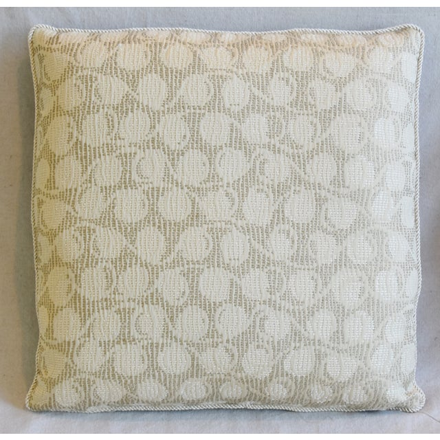 """Abstract Italian Embroidered Silk & Leather Feather/Down Pillows 21"""" Square - Pair For Sale - Image 3 of 13"""