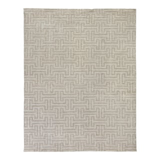Exquisite Rugs Bazas Handwoven Cotton & Viscose Beige - 10'x14' For Sale