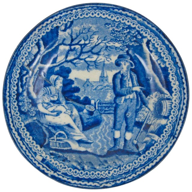 English Staffordshire Blue & White Transferware Stapled Cup Plate, Farmer & Family For Sale