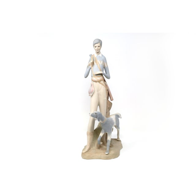 Vintage Tall Hunting Girl With Dog Figurine by Porceval For Sale - Image 11 of 11