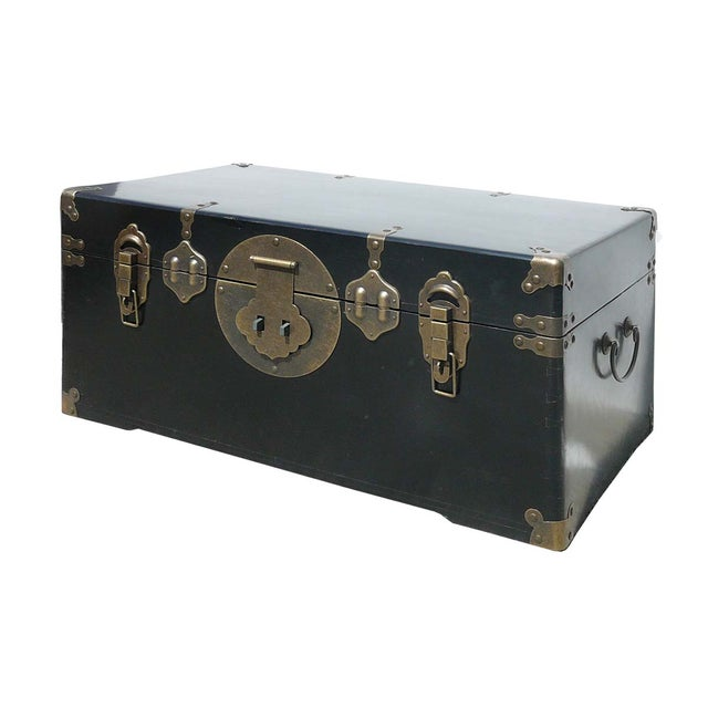 Camphor Wood Black Lacquer Trunk W/Bronze Hardware - Image 1 of 4