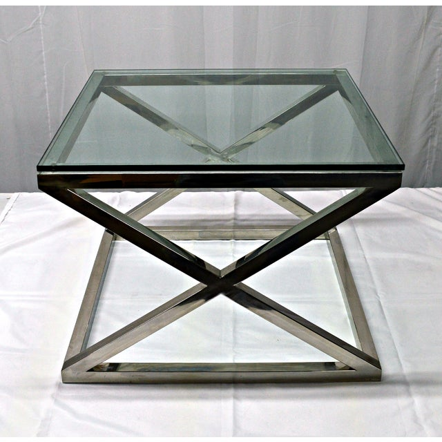 Stainless Steel & Glass Top Square Crossing Table - Image 2 of 8