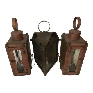 Nautical Copper and Brass Sconces-Set Of 3 For Sale