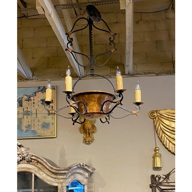 French 19th Century French Iron and Copper Pot Fixture For Sale - Image 3 of 7