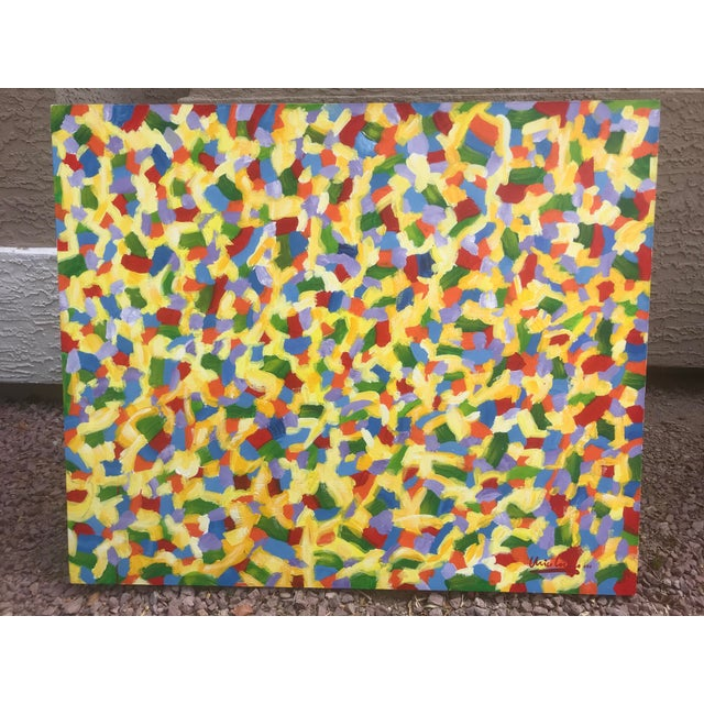 2000s Abstract Modern Bright Acrylic Painting For Sale - Image 5 of 5