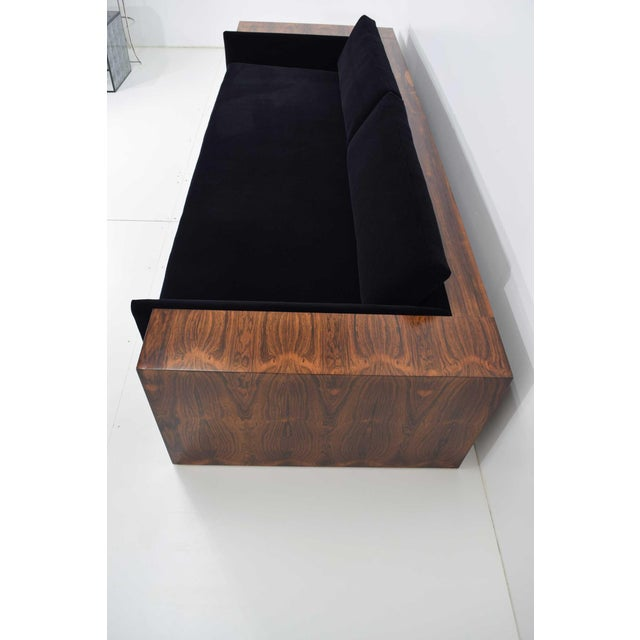 1970s Milo Baughman for Thayer Coggin Rosewood Case Sofa in Maharam Mohair For Sale - Image 5 of 13