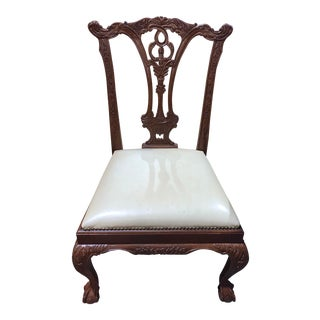 Chippendale Dining Chair with Leather Seats For Sale