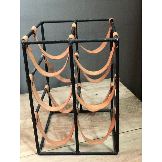 Mid-Century Modern Arthur Umanoff Iron Wine Rack with Cowhide Straps For Sale - Image 3 of 3