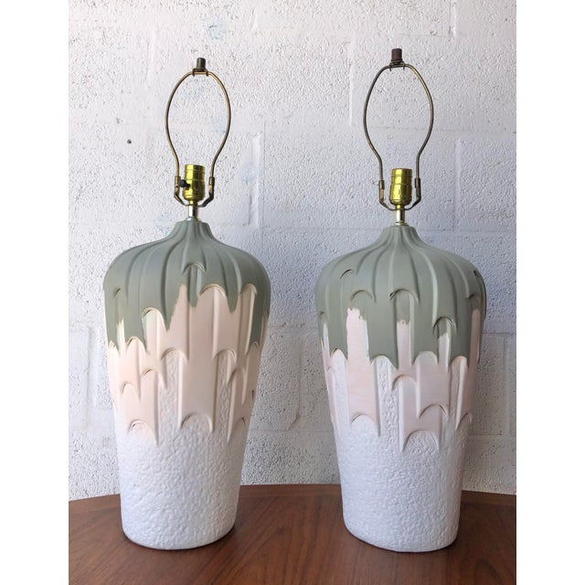 Vintage 1980s Harris Carved Pottery Table Lamps- a Pair For Sale - Image 11 of 11