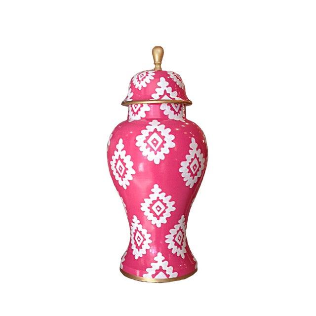 Dana Gibson Pink Block Print Jar - Image 1 of 2