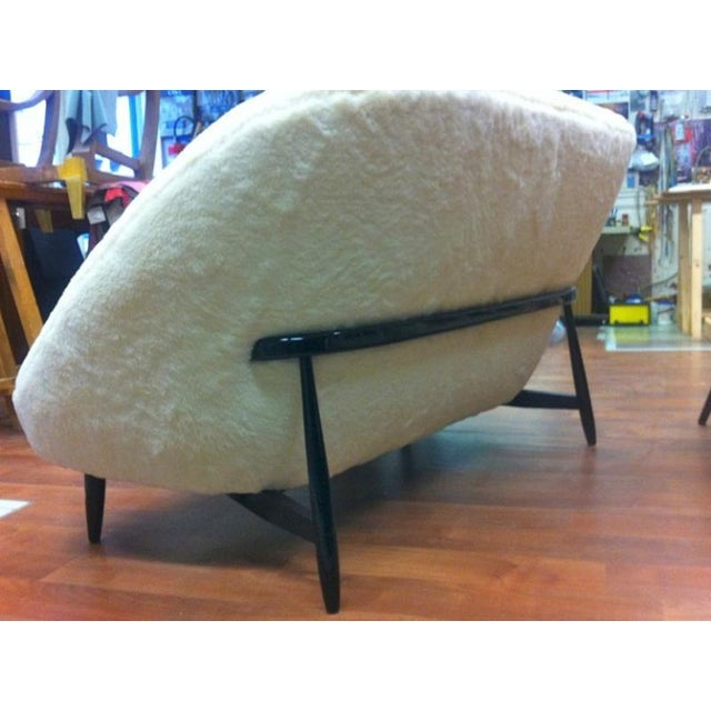 Theo Ruth for Artifort 1950s Couch Newly Reupholstered in Wool Faux Fur.