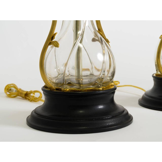 Metal Art Nouveau Brass and Art Glass Lamps - a Pair For Sale - Image 7 of 8