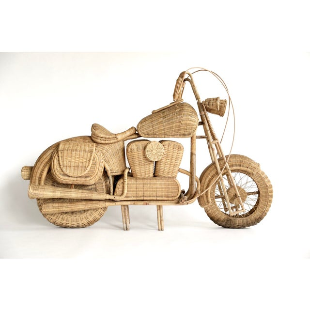 Early 2000s life size rattan and bamboo Harley Davidson motorcycle sculpture. Incredible accuracy and detail! Originally...