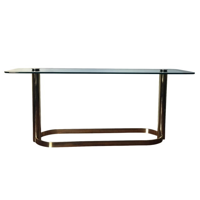 Pace Brass and Glass Console Table For Sale