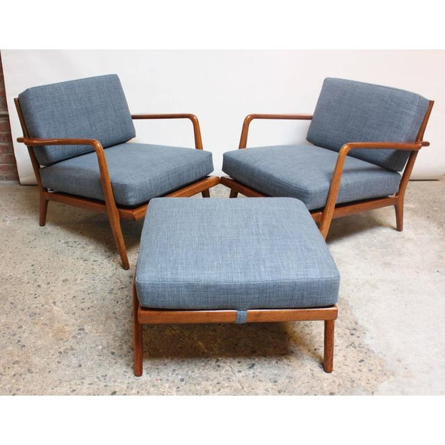 Pair of Mid-Century Walnut Armchairs and Ottoman by Mel Smilow - Image 2 of 11