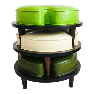 Mid Century Circular Low Stacking Ottomans - Set of 3 For Sale