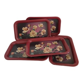 Mid Century Serving Decor Rose Trays - Set of 6 For Sale