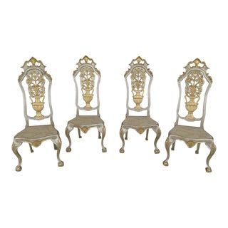 Gold Decorated High Back Italian Chairs - Set of 4 For Sale