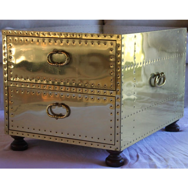 Anglo-Indian 1970s Sarreid Ltd. Spanish Polished Brass Clad Studded Chest Coffee Table For Sale - Image 3 of 12