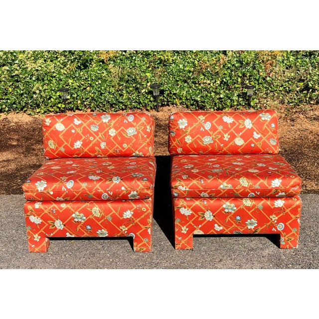 1960s Vintage Custom Upholstery Scroll Back Chinoiserie Slipper Chairs- A Pair For Sale - Image 9 of 11