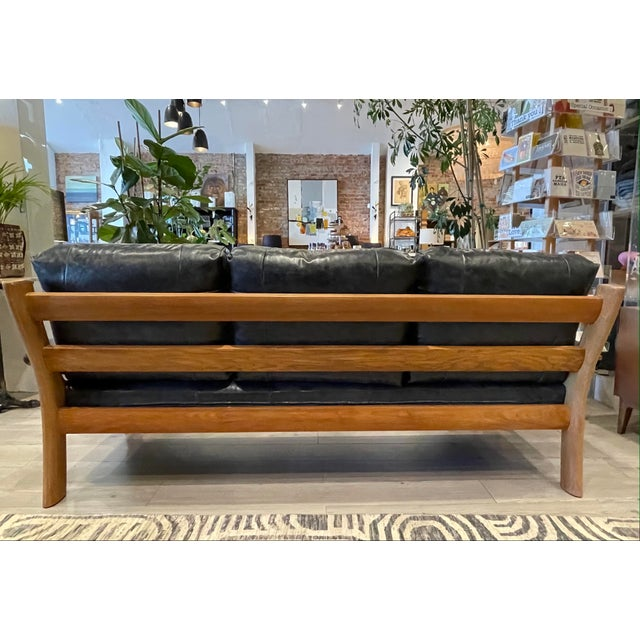 Mid-Century Modern MCM Danish Sofa in Black Leather For Sale - Image 3 of 13