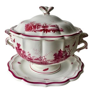 Gien French Faience Large Tureen W Lid & Under Plate-'Paysages Rose'