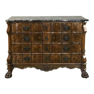 Antique Dutch Marble Top Burl Walnut Silver Chest For Sale