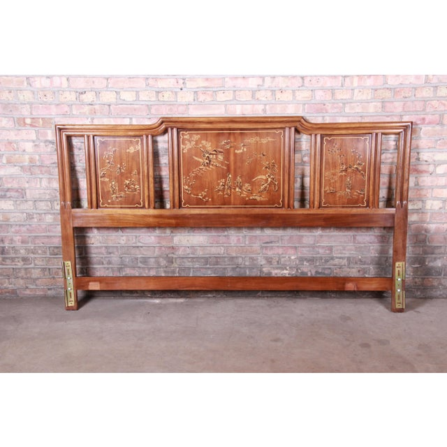Drexel Heritage Hollywood Regency Chinoiserie King Size Headboard For Sale - Image 10 of 10