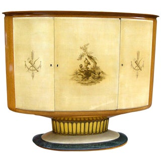 1940 Italian Parchment Cabinet or Bar With Bird's-Eye Maple Interior For Sale